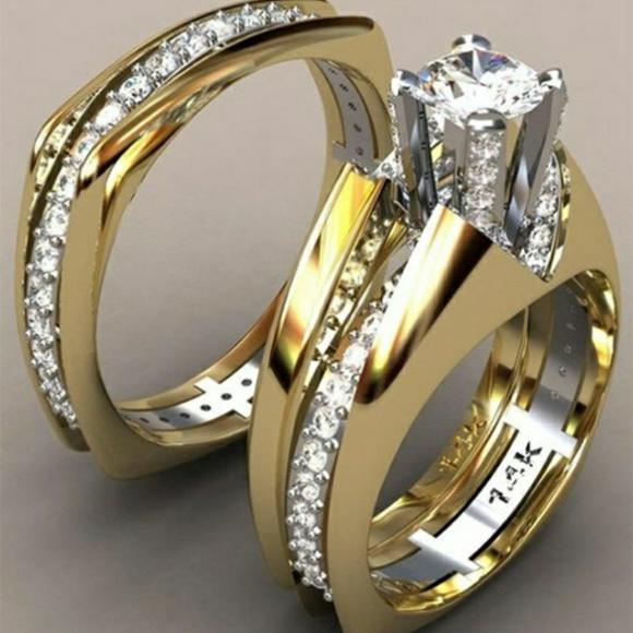 Jewelry - 925 Silver 14 kt Gold White Sapphire Wedding Set
